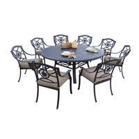 Darlee Ten Star Antique Bronze Cast Aluminum Round 9-piece Dining Set