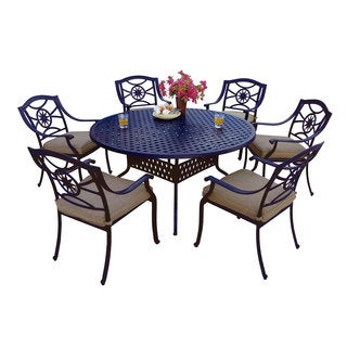 Darlee Ten Star Antique Bronze Cast Aluminum Round 7-piece Dining Set