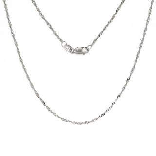10k White Gold 1 5 Millimeter X 16 To 24 Inch Classic Singapore Chain With Lobster Clasp
