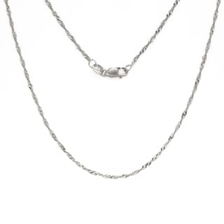 10k White Gold 1.5-millimeter x 16- to 24-inch Classic Singapore Chain With Lobster Clasp
