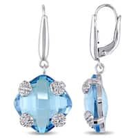 Cushion Square-Cut Swiss-Blue Topaz Drop Earrings in 14k White Gold by The Miadora Signature Collection