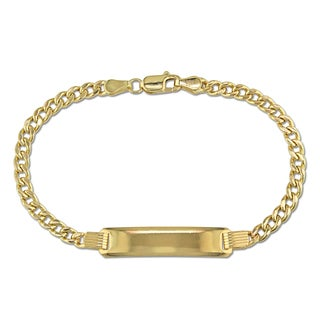 Engravable Link ID Bracelet in 10k Yellow Gold by Miadora