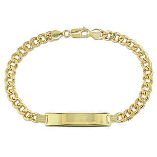 Men's Engravable Curb Link ID Bracelet in 10k Yellow Gold by Miadora