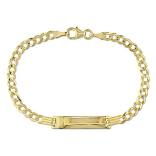 Engravable Cuban Link ID Bracelet in 18k Yellow Gold by Miadora