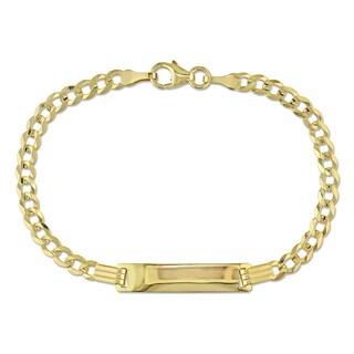 Miadora Engravable Cuban Link ID Bracelet in 18k Yellow Gold