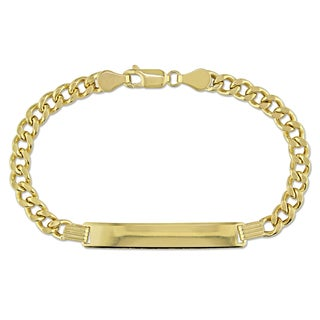 Men's Curb Link ID Bracelet in 10k Yellow Gold by Miadora