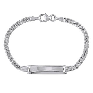 Engravable Cuban Link ID Bracelet in 18k White Gold by Miadora