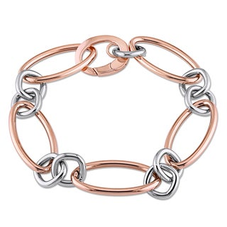 Geometric Multi-Size Link Bracelet in 18k 2-tone Rose and White Gold by The Miadora Signature Collection