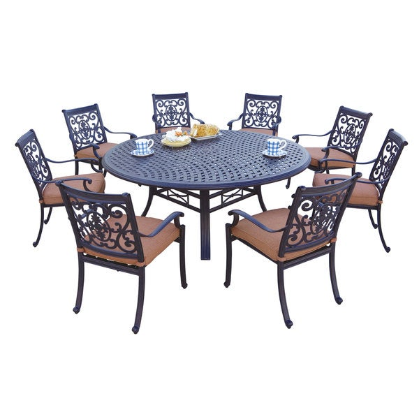 shop darlee st cruz antique bronze cast aluminum round 9 piece dining set on sale free. Black Bedroom Furniture Sets. Home Design Ideas