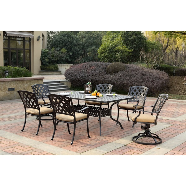 Darlee Ocean View Antique Bronze Cast Aluminum Mixed Rectangle 7 Piece Dining Set Free