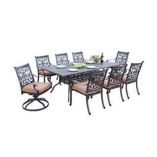 Darlee St.Cruz Bronze Cast Aluminum Rectangular 9-piece Dining Set