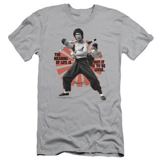Bruce Lee/Meaning Of Life Short Sleeve Adult T-Shirt 30/1 in Silver