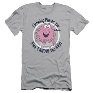 Mr Bubble/Cleaning Places Short Sleeve Adult T-Shirt 30/1 in Silver