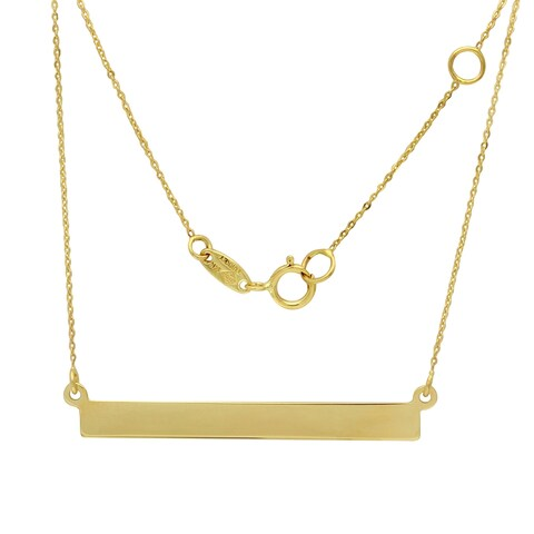 14k Yellow Gold Flat Bar Rolo 18-inch Adjustable Chain Necklace
