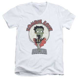 Betty Boop/Breezy Zombie Love Short Sleeve Adult T-Shirt V-Neck 30/1 in White