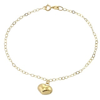 14k Italian Yellow Gold Dangling Puffy Heart 7-inch Charm Bracelet