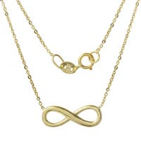 14k Italian Yellow Gold Diamond Cut Rolo Chain 16-inch Infinity Necklace