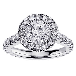 14k/ 18k White Gold 2 1/2ct Designer Brilliant-cut Diamond Halo Engagement Ring (G-H, SI1-SI2)
