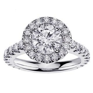 Platinum 2 1/2ct TDW Designer Brilliant-cut Diamond Halo Engagement Ring (G-H, SI1-SI2)