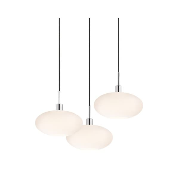 Sonneman Lighting Glass Pendants - 3-light Polished Chrome Grand Oval Cluster Pendant
