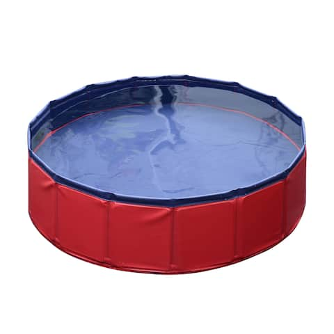 "Pawhut PVC 12"" x 47"" Foldable Pet Swimming Pool"