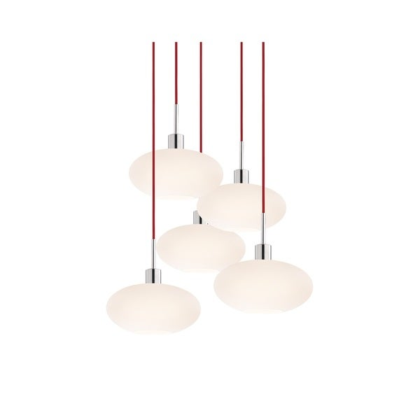 Sonneman Lighting Glass Pendants - 5-light Polished Chrome Oval Cluster Pendant with Red Cords