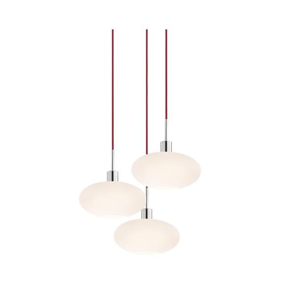 Sonneman Lighting Glass Pendants - 3-light Polished Chrome Oval Cluster Pendant with Red Cords