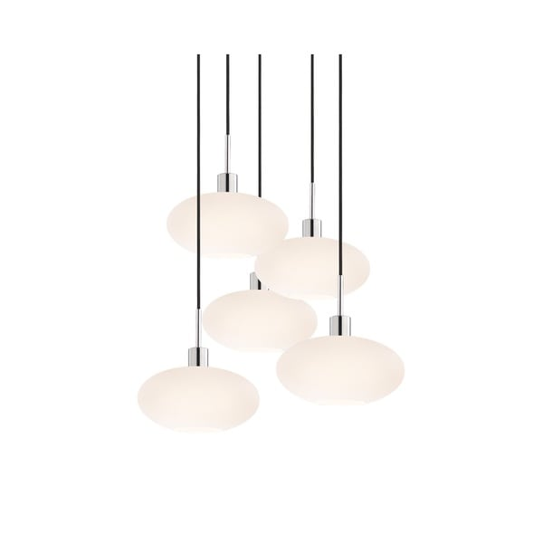 Sonneman Lighting Glass Pendants - 5-light Polished Chrome Oval Cluster Pendant