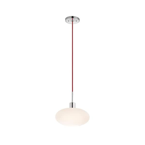 Sonneman Lighting Glass Pendants - Polished Chrome Oval Pendant with Red Cord