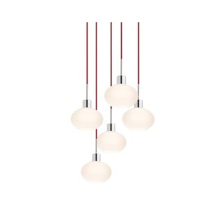 Sonneman Lighting Glass Pendants - 5-light Polished Chrome Demi Oval Cluster Pendant with Red Cords
