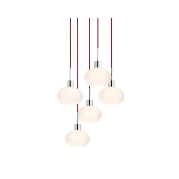 Sonneman Lighting Glass Pendants - 5-light Polished Chrome Demi Oval Cluster Pendant with Red Cords