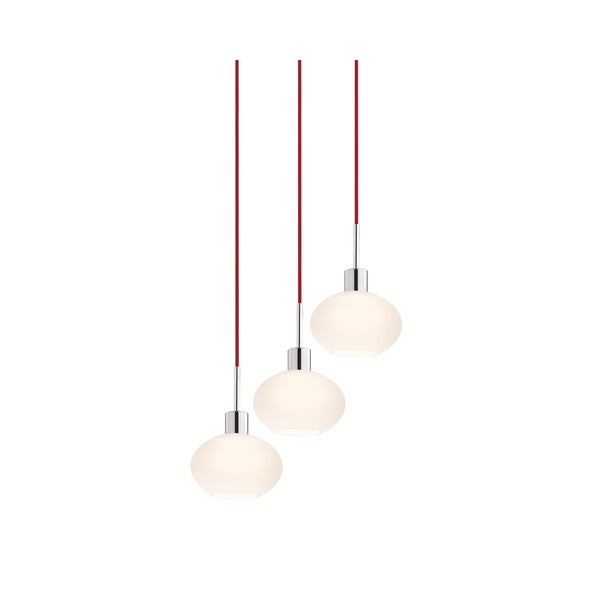Sonneman Lighting Glass Pendants - 3-light Polished Chrome Demi Oval Cluster Pendant with Red Cords