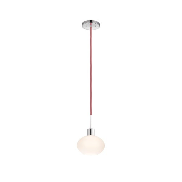 Sonneman Lighting Glass Pendants - Polished Chrome Demi Oval Pendant with Red Cord