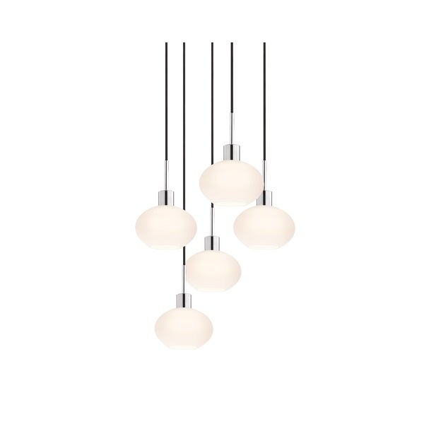 Sonneman Lighting Glass Pendants - 5-light Polished Chrome Demi Oval Cluster Pendant