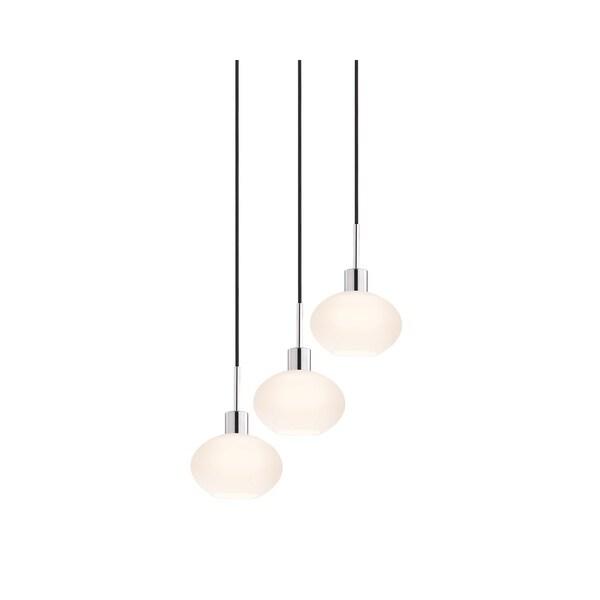 Sonneman Lighting Glass Pendants - 3-light Polished Chrome Demi Oval Cluster Pendant