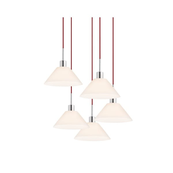 Sonneman Lighting Glass Pendants - 5-light Polished Chrome Cone Cluster Pendant with Red Cords