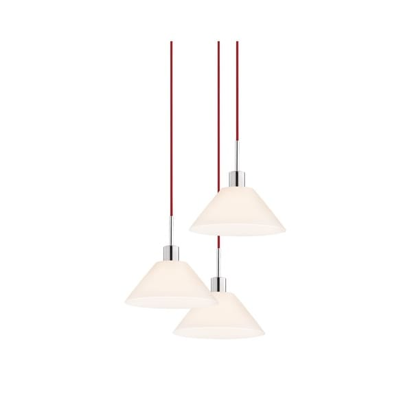 Sonneman Lighting Glass Pendants - 3-light Polished Chrome Cone Cluster Pendant with Red Cords