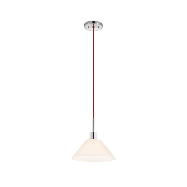 Sonneman Lighting Glass Pendants - Polished Chrome Cone Pendant with Red Cord