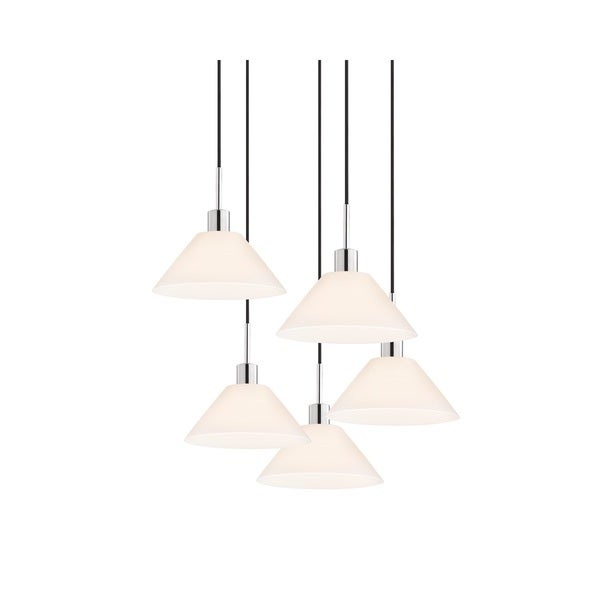 Sonneman Lighting Glass Pendants - 5-light Polished Chrome Cone Cluster Pendant
