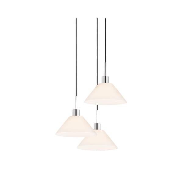 Sonneman Lighting Glass Pendants - 3-light Polished Chrome Cone Cluster Pendant