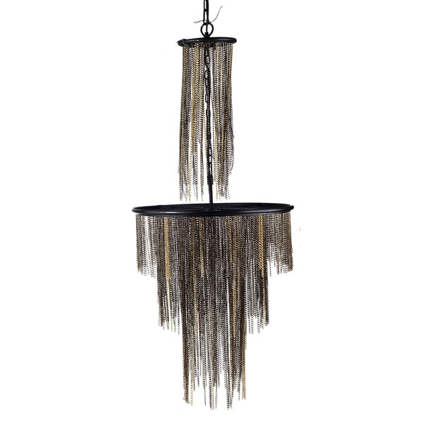 Hayword Black and Gold Metal 37-inch x 17-inch Chandelier