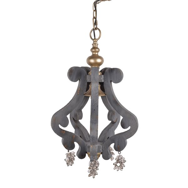 Grey, Gold Iron, and Wood 12-inch x 12-inch x 21-inch Chandelier