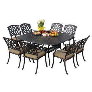Darlee Ocean View Antique Bronze Cast Aluminum Square 9-piece Dining Set