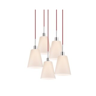 Sonneman Lighting Glass Pendants - 5-light Polished Chrome Tall Cone Pendant with Red Cords