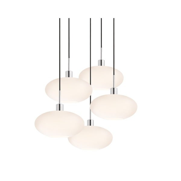 Sonneman Lighting Glass Pendants - 5-light Polished Chrome Grand Oval Cluster Pendant