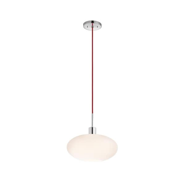 Sonneman Lighting Glass Pendants - Polished Chrome Grand Oval Pendant with Red Cord