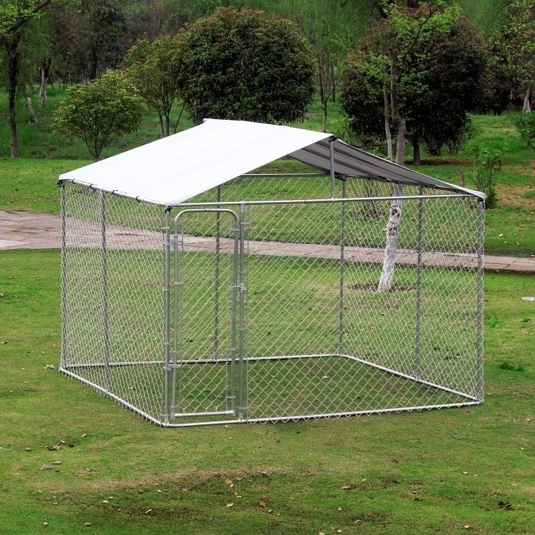 Aosom Pawhut Outdoor Chain Link Box Kennel Dog House with...
