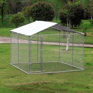 Pawhut Outdoor Chain Link Box Kennel Dog House with Cover