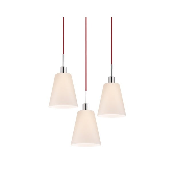 Sonneman Lighting Glass Pendants - 3-light Polished Chrome Tall Cone Pendant with Red Cords