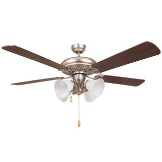 Y-Decor Wooster Brushed-nickel-finished Metal/Wood/Glass 5-blade Ceiling Fan